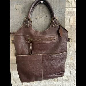 Large Roots Pebbled Leather Tote